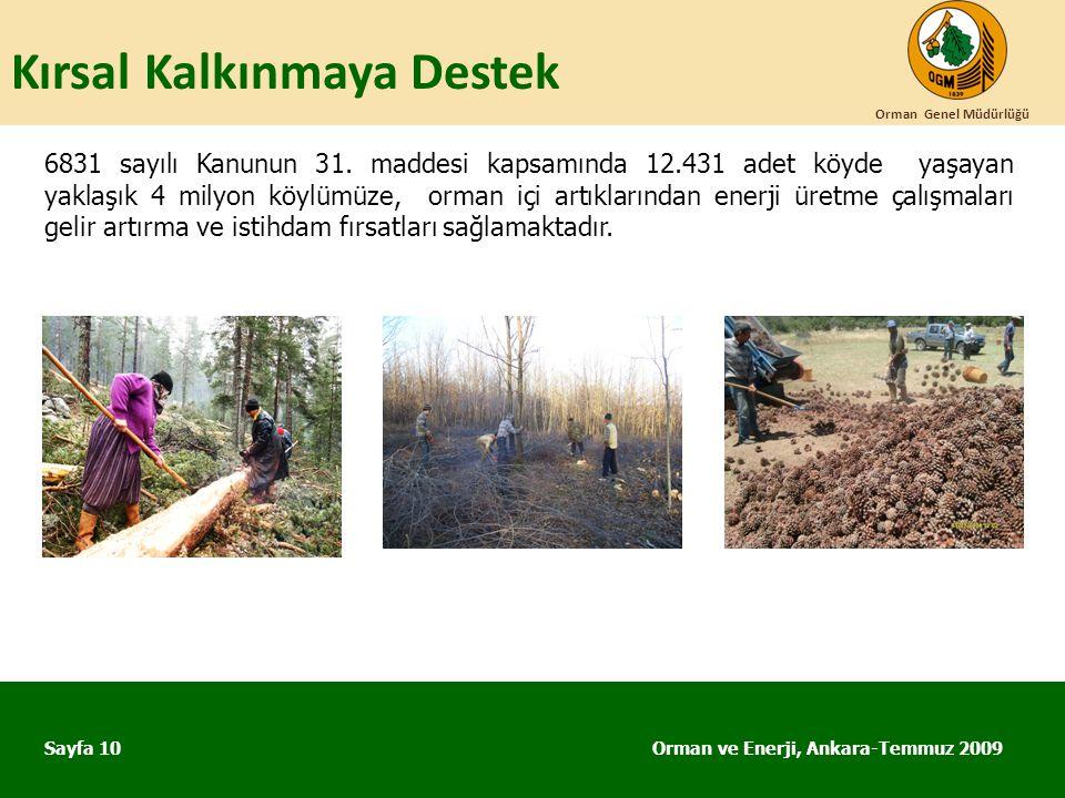 Kırsal Kalkınmaya Destek Orman ve Enerji, Ankara-Temmuz 2009 Orman Genel Müdürlüğü Sayfa 10 6831 sayılı Kanunun 31. maddesi kapsamında 12.431 adet köy
