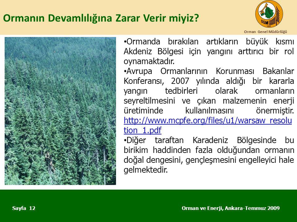 Ormanın Devamlılığına Zarar Verir miyiz? Orman ve Enerji, Ankara-Temmuz 2009 Orman Genel Müdürlüğü Sayfa 12 • Ormanda bırakılan artıkların büyük kısmı