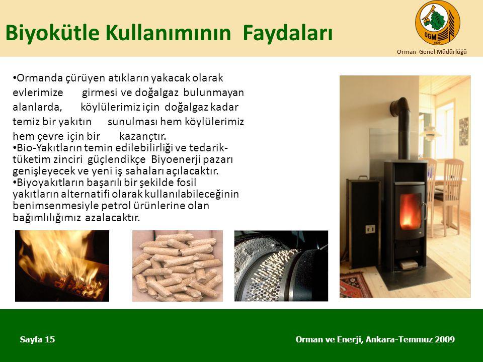 Biyokütle Kullanımının Faydaları Orman ve Enerji, Ankara-Temmuz 2009 Orman Genel Müdürlüğü Sayfa 15 • Ormanda çürüyen atıkların yakacak olarak evlerim