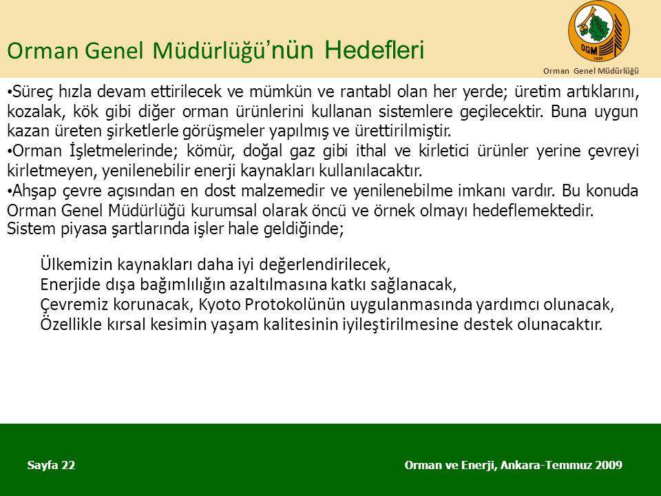 Orman Genel Müdürlüğü 'nün Hedefleri Orman ve Enerji, Ankara-Temmuz 2009 Orman Genel Müdürlüğü Sayfa 22 • Süreç hızla devam ettirilecek ve mümkün ve r