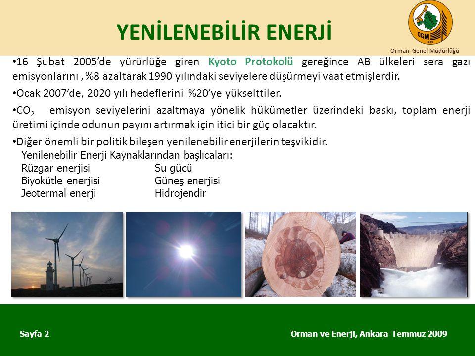 YENİLENEBİLİR ENERJİ Orman ve Enerji, Ankara-Temmuz 2009 Orman Genel Müdürlüğü Sayfa 2 • 16 Şubat 2005'de yürürlüğe giren Kyoto Protokolü gereğince AB