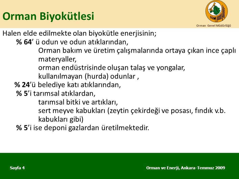 Orman Biyokütlesi Orman ve Enerji, Ankara-Temmuz 2009 Orman Genel Müdürlüğü Sayfa 4 Halen elde edilmekte olan biyokütle enerjisinin; % 64' ü odun ve o