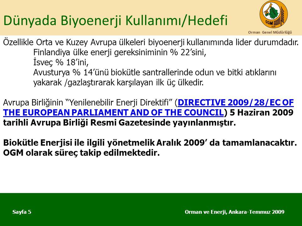 Dünyada Biyoenerji Kullanımı/Hedefi Orman ve Enerji, Ankara-Temmuz 2009 Orman Genel Müdürlüğü Sayfa 5 Özellikle Orta ve Kuzey Avrupa ülkeleri biyoener