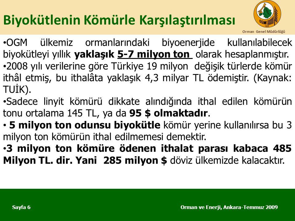 Biyokütlenin Kömürle Karşılaştırılması Orman ve Enerji, Ankara-Temmuz 2009 Orman Genel Müdürlüğü Sayfa 6 • OGM ülkemiz ormanlarındaki biyoenerjide kul