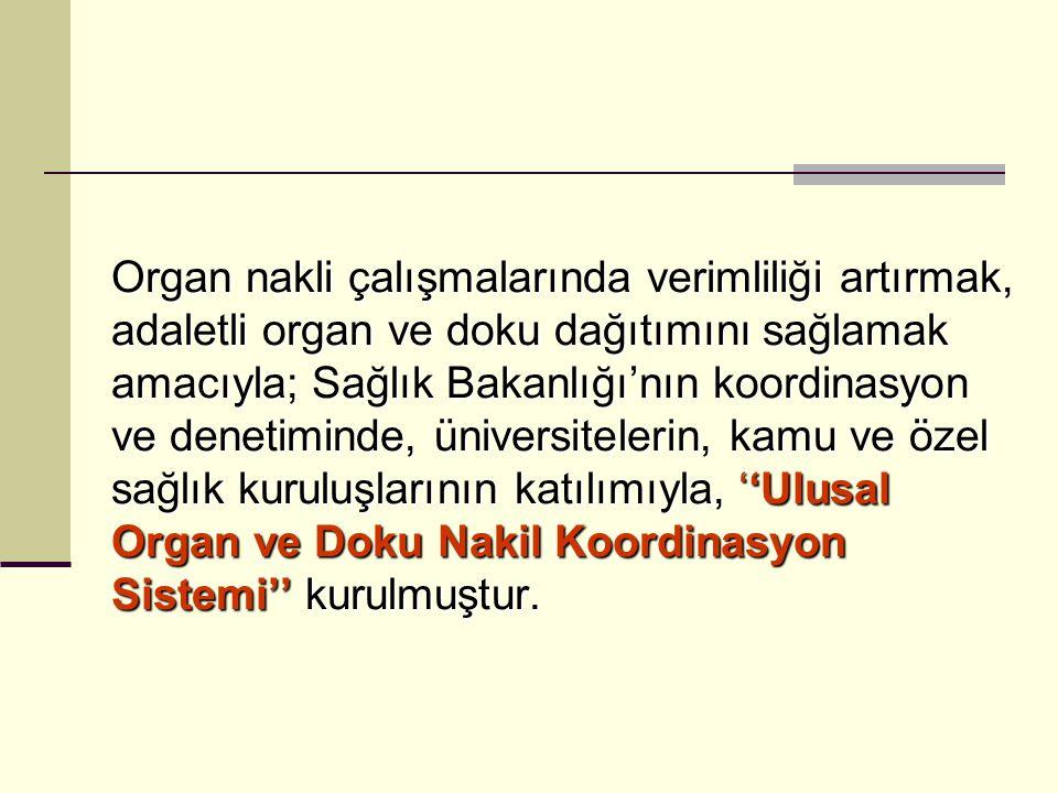 Organ nakli çalışmalarında verimliliği artırmak, adaletli organ ve doku dağıtımını sağlamak amacıyla; Sağlık Bakanlığı'nın koordinasyon ve denetiminde