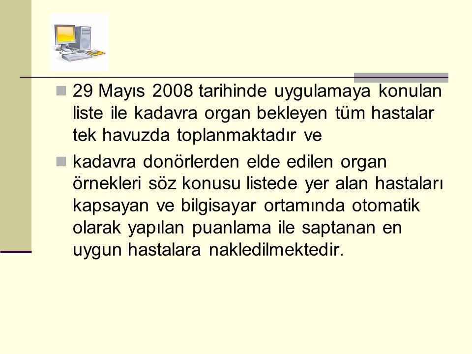  29 Mayıs 2008 tarihinde uygulamaya konulan liste ile kadavra organ bekleyen tüm hastalar tek havuzda toplanmaktadır ve  kadavra donörlerden elde ed