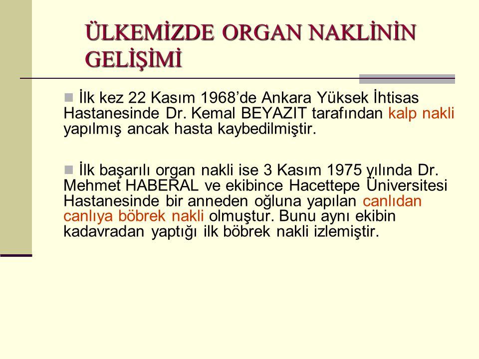 ÜLKEMİZDE ORGAN NAKLİNİN GELİŞİMİ  İlk kez 22 Kasım 1968'de Ankara Yüksek İhtisas Hastanesinde Dr. Kemal BEYAZIT tarafından kalp nakli yapılmış ancak