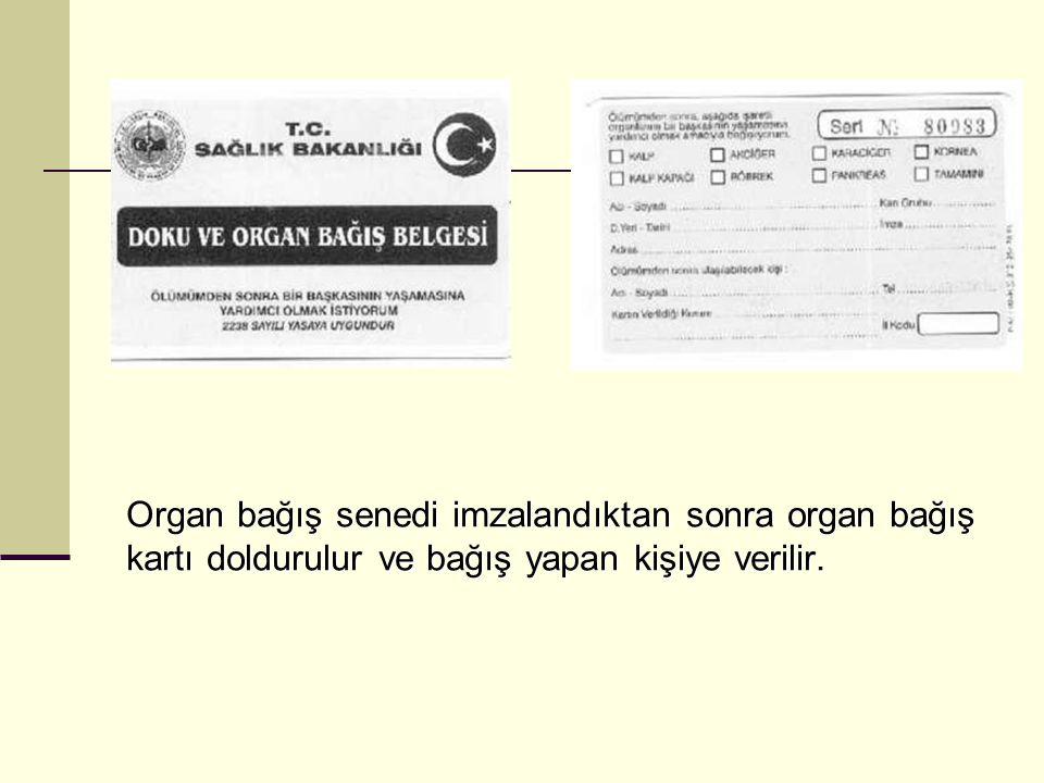 Organ bağış senedi imzalandıktan sonra organ bağış kartı doldurulur ve bağış yapan kişiye verilir.