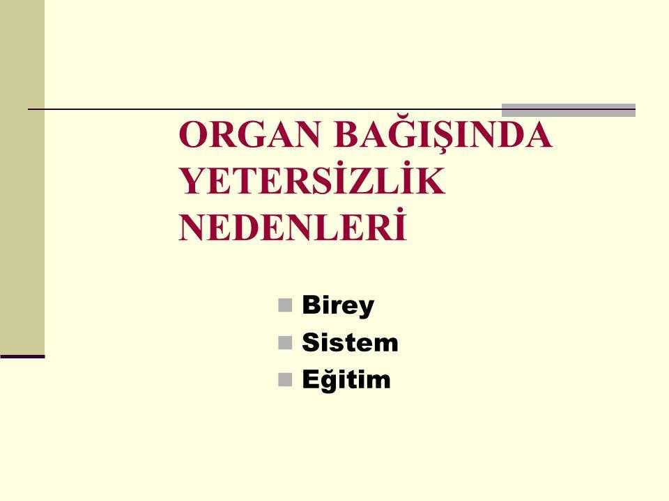 Ülkemizde yeterli donanıma sahip nakil merkezleri ve deneyimli bilim adamları olmasına rağmen, organ bağışının yetersiz olması sebebiyle nakil sayıları yetersiz kalmaktadır.