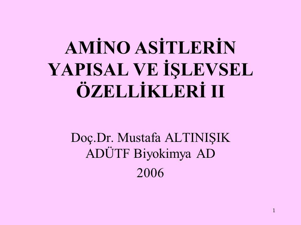 1 AMİNO ASİTLERİN YAPISAL VE İŞLEVSEL ÖZELLİKLERİ II Doç.Dr. Mustafa ALTINIŞIK ADÜTF Biyokimya AD 2006