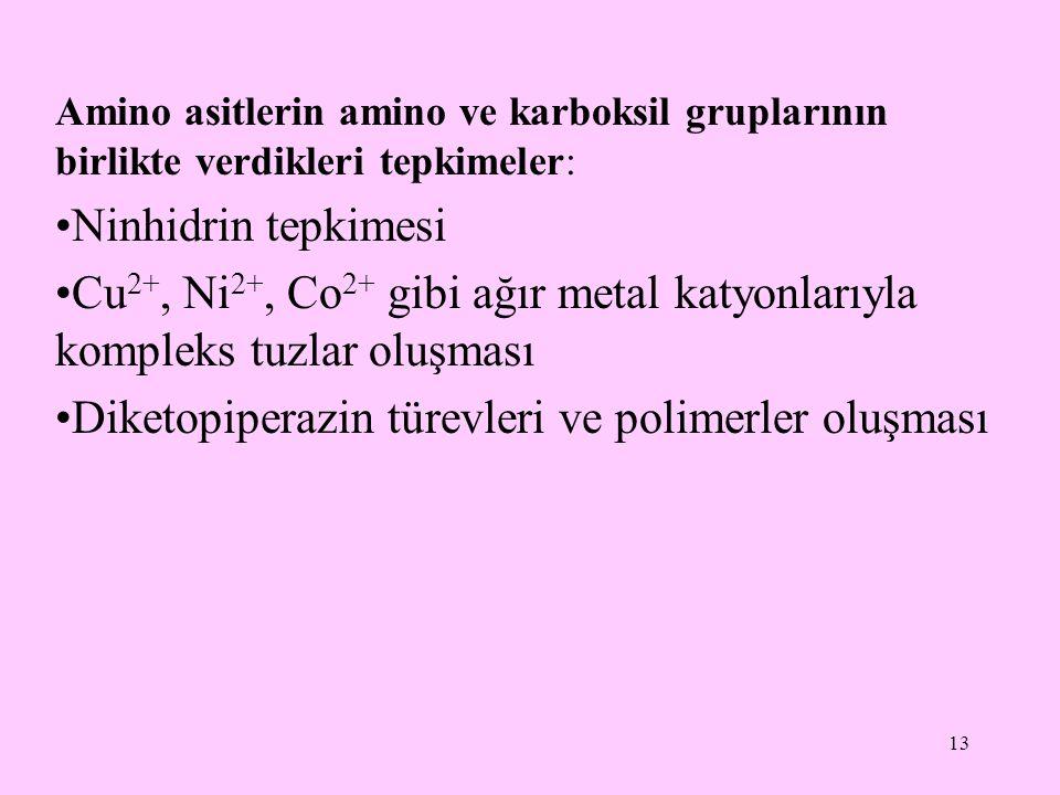 13 Amino asitlerin amino ve karboksil gruplarının birlikte verdikleri tepkimeler: •Ninhidrin tepkimesi •Cu 2+, Ni 2+, Co 2+ gibi ağır metal katyonlarıyla kompleks tuzlar oluşması •Diketopiperazin türevleri ve polimerler oluşması