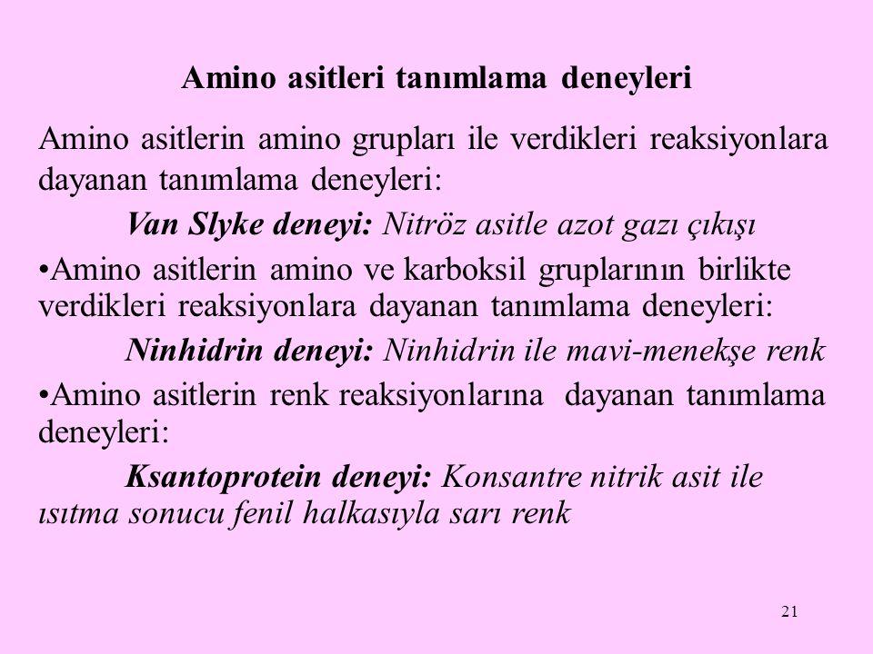 21 Amino asitleri tanımlama deneyleri Amino asitlerin amino grupları ile verdikleri reaksiyonlara dayanan tanımlama deneyleri: Van Slyke deneyi: Nitrö