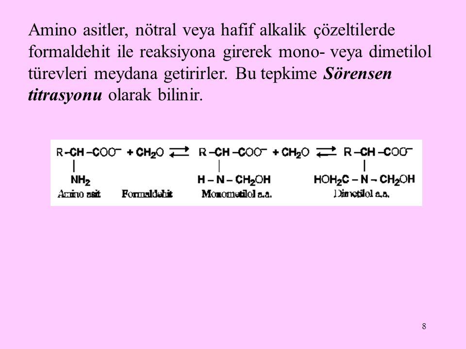 8 Amino asitler, nötral veya hafif alkalik çözeltilerde formaldehit ile reaksiyona girerek mono- veya dimetilol türevleri meydana getirirler.