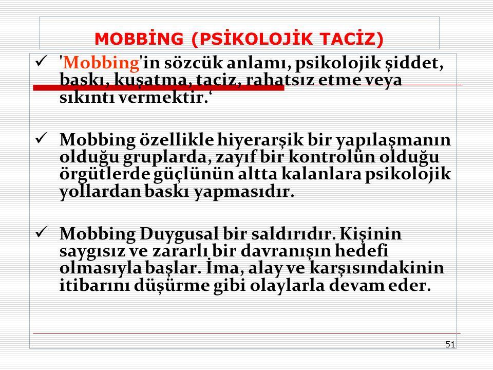 MOBBİNG (PSİKOLOJİK TACİZ)  'Mobbing'in sözcük anlamı, psikolojik şiddet, baskı, kuşatma, taciz, rahatsız etme veya sıkıntı vermektir.'  Mobbing öze