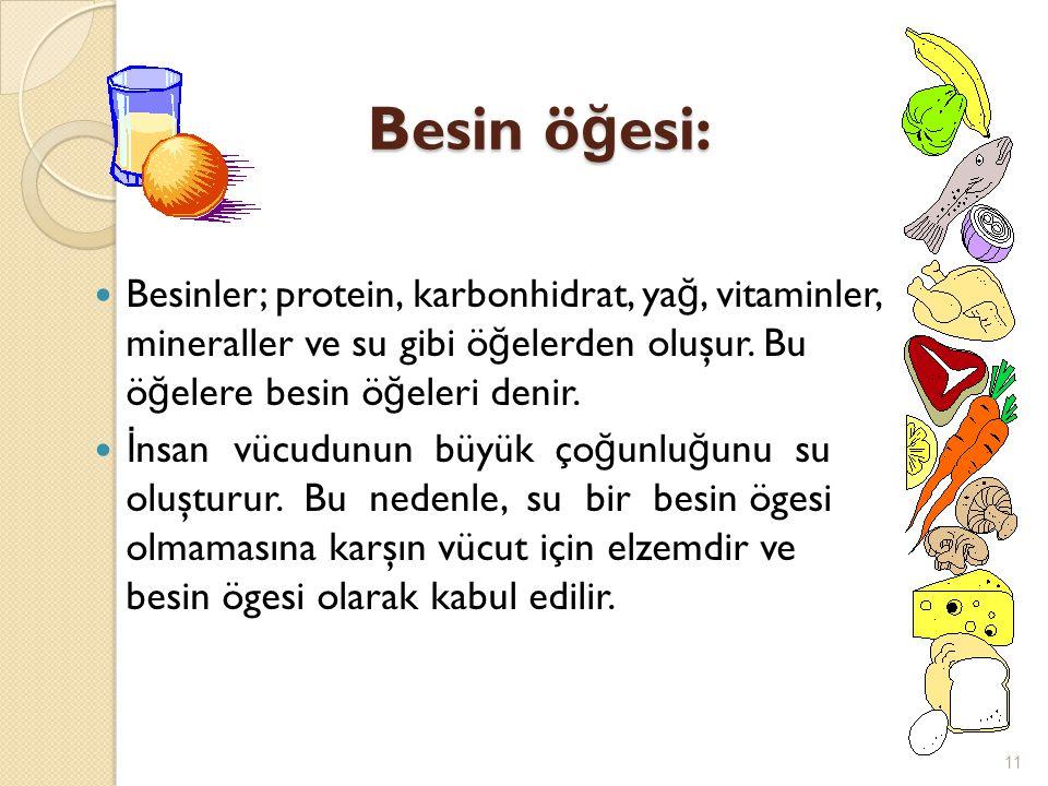 Besin ö ğ esi: Besin ö ğ esi:  Besinler; protein, karbonhidrat, ya ğ, vitaminler, mineraller ve su gibi ö ğ elerden oluşur. Bu ö ğ elere besin ö ğ el
