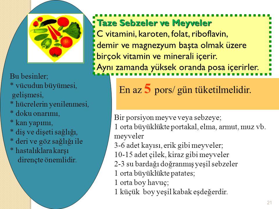 Taze Sebzeler ve Meyveler C vitamini, karoten, folat, riboflavin, demir ve magnezyum başta olmak üzere birçok vitamin ve minerali içerir. Aynı zamanda