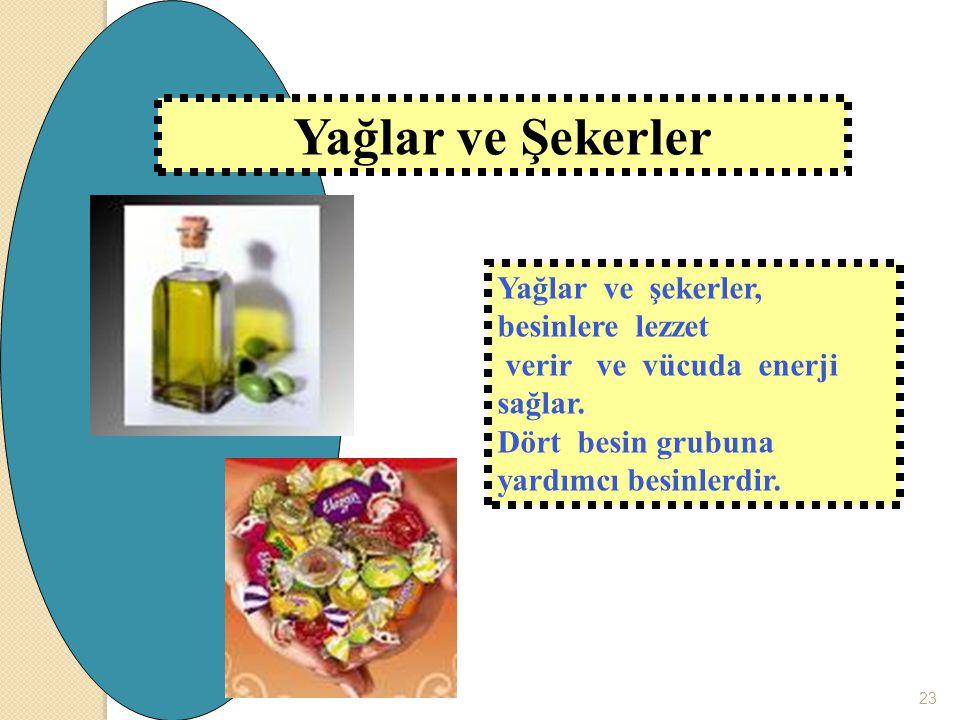 Yağlar ve şekerler, besinlere lezzet verir ve vücuda enerji sağlar. Dört besin grubuna yardımcı besinlerdir. Yağlar ve Şekerler 23