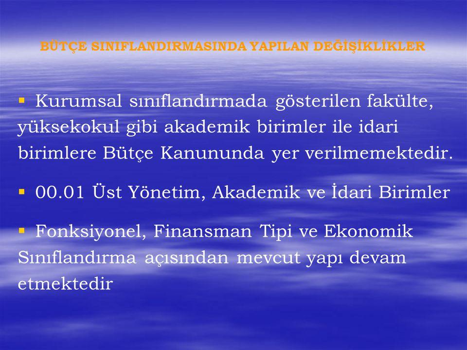   Kurumsal sınıflandırmada gösterilen fakülte, yüksekokul gibi akademik birimler ile idari birimlere Bütçe Kanununda yer verilmemektedir.   00.01