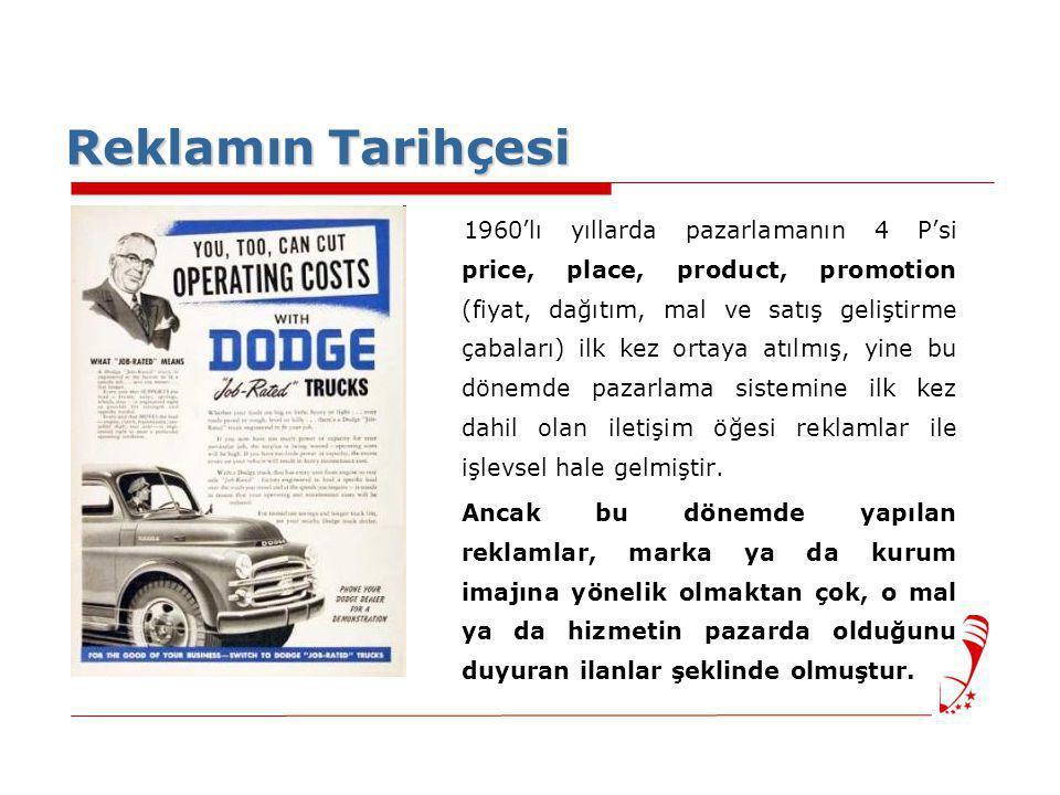 Reklamın Tarihçesi 1960'lı yıllarda pazarlamanın 4 P'si price, place, product, promotion (fiyat, dağıtım, mal ve satış geliştirme çabaları) ilk kez or