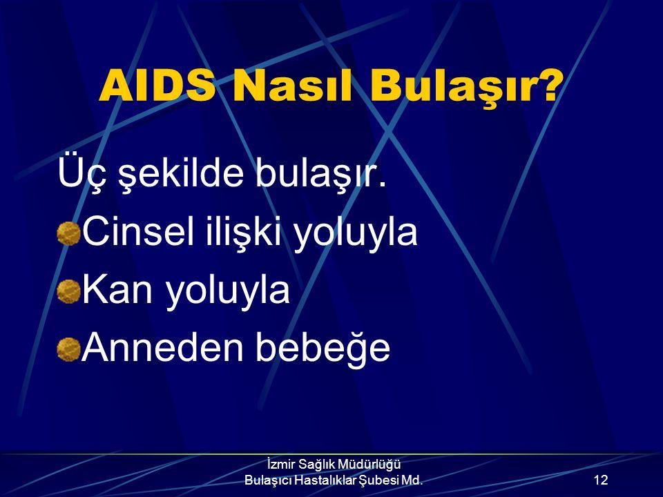 İzmir Sağlık Müdürlüğü Bulaşıcı Hastalıklar Şubesi Md.11 AIDS Tedavisi? AIDS'in kesin tedavisi yoktur, bugün için ilaç kullanımı ile yalnızca hastalık