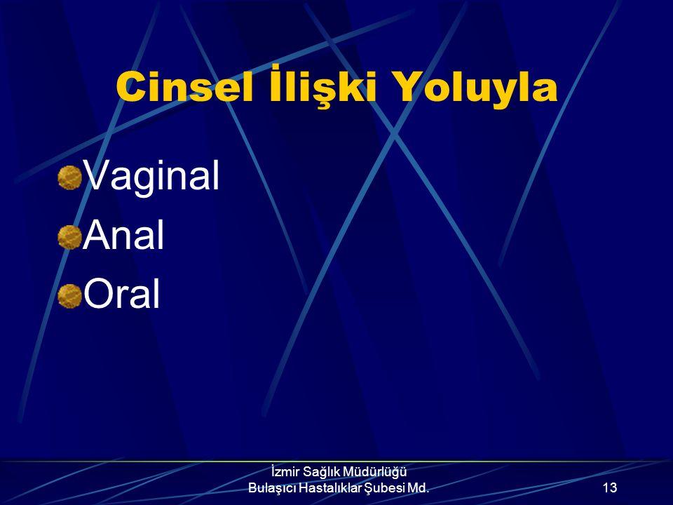İzmir Sağlık Müdürlüğü Bulaşıcı Hastalıklar Şubesi Md.12 AIDS Nasıl Bulaşır? Üç şekilde bulaşır. Cinsel ilişki yoluyla Kan yoluyla Anneden bebeğe
