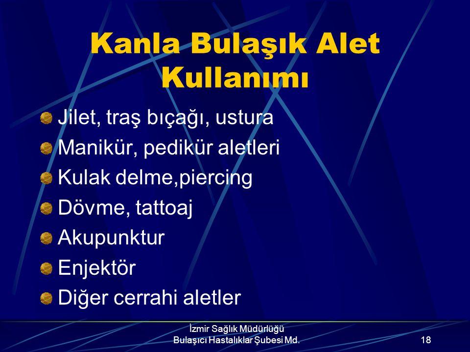 İzmir Sağlık Müdürlüğü Bulaşıcı Hastalıklar Şubesi Md.17 Kan Yoluyla Enfekte kan ve kan ürünleri Organ/sperm nakli Kanla bulaşık delici, kesici aletle