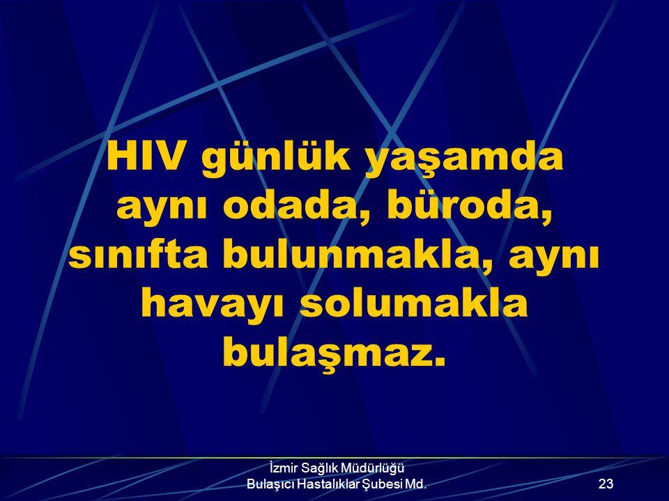 İzmir Sağlık Müdürlüğü Bulaşıcı Hastalıklar Şubesi Md.22 AIDS'in bulaşmadığı durumlar Aile yaşantısı, toplumsal yaşam El sıkışma, kuçaklaşma, cilt tem