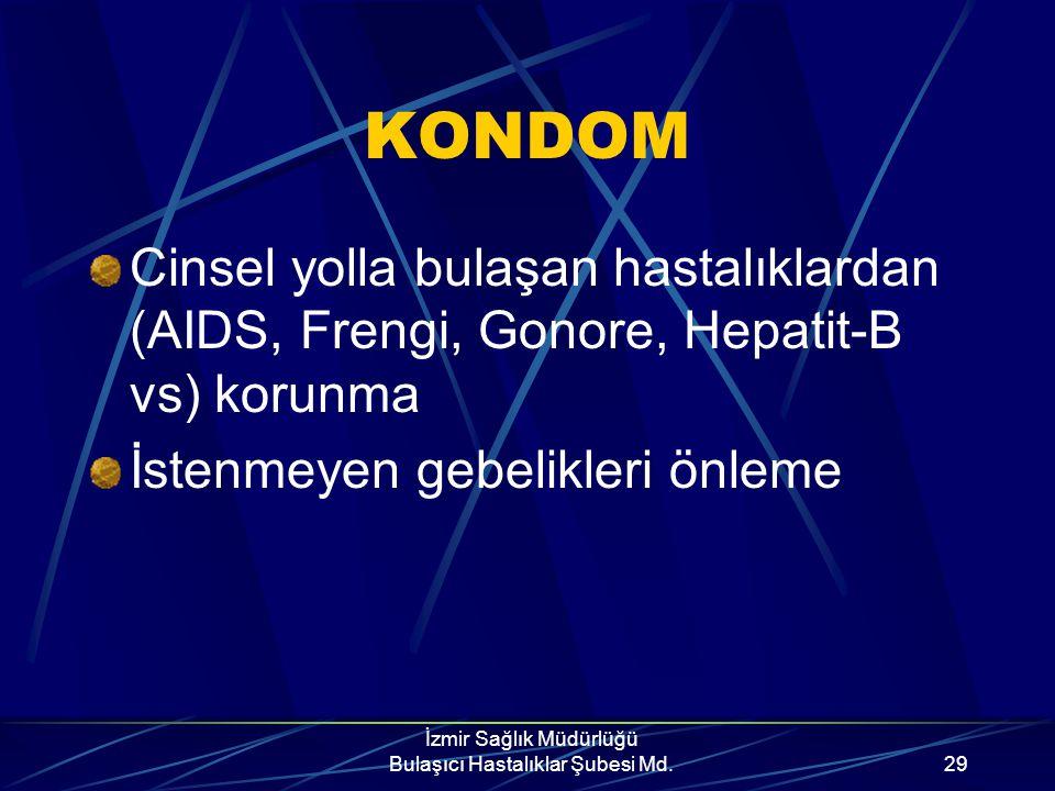 İzmir Sağlık Müdürlüğü Bulaşıcı Hastalıklar Şubesi Md.28 Çalışmalar göstermiştir ki..... Uygun kullanıldığında kondom partnerleri korur. Ancak tam ola