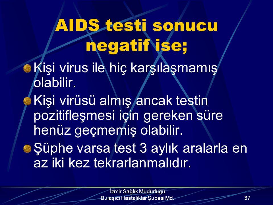 İzmir Sağlık Müdürlüğü Bulaşıcı Hastalıklar Şubesi Md.36 AIDS testi sonucu pozitif ise; Kişi virusü taşıyor demektir. Kişi bulaştırıcıdır. Kişi bir sü