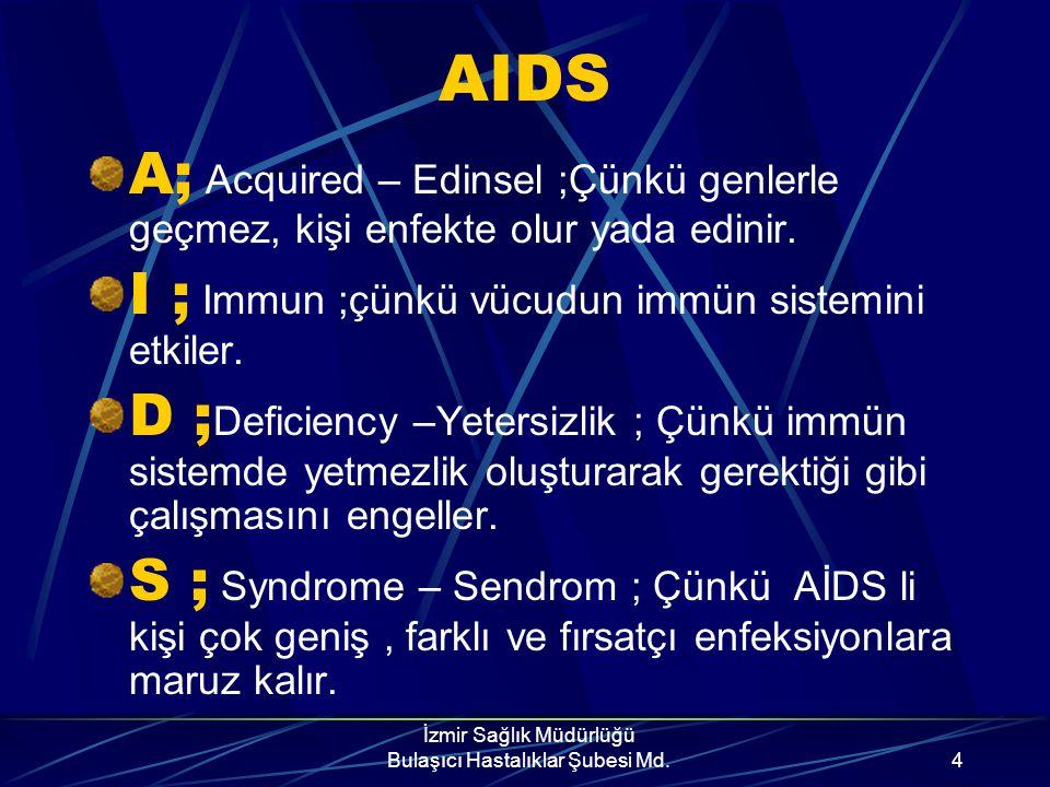İzmir Sağlık Müdürlüğü Bulaşıcı Hastalıklar Şubesi Md.3 AIDS Nedir? AIDS, bulaşıcı ve ölümcül bir hastalıktır. Nedeni HIV(insan Bağışıklık Yetmezliği