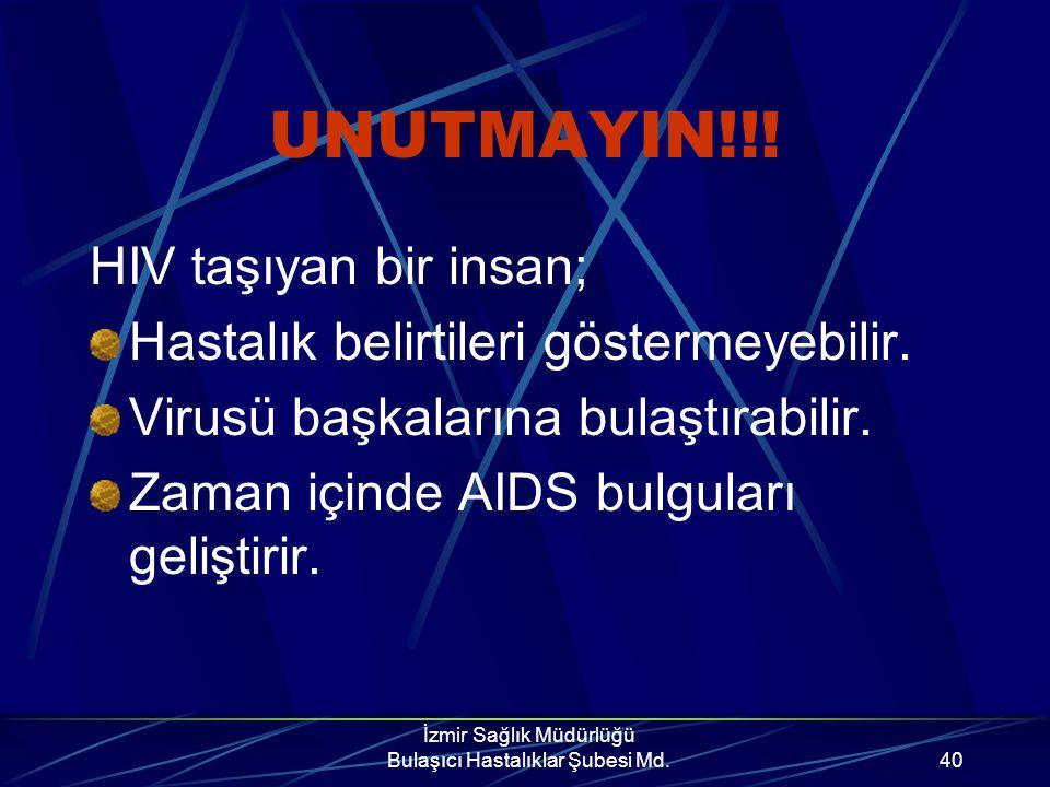 İzmir Sağlık Müdürlüğü Bulaşıcı Hastalıklar Şubesi Md.39 Eğer test sonucunuz pozitif ise; Cinsel ilişkiden kaçının. Bu mümkün değilse sex süresince ba