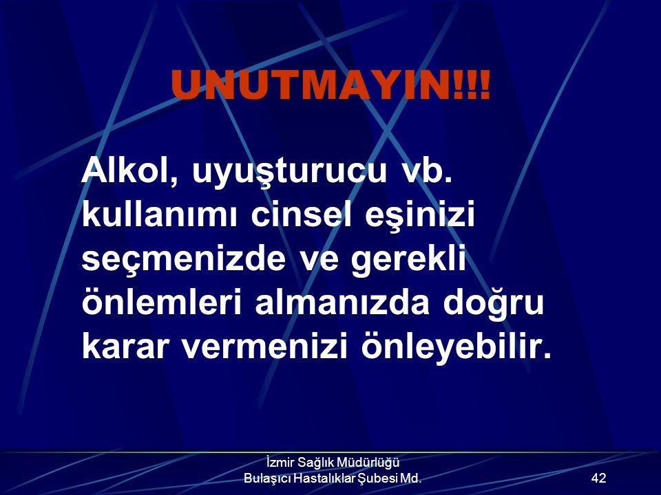 İzmir Sağlık Müdürlüğü Bulaşıcı Hastalıklar Şubesi Md.41 UNUTMAYIN!!! Cinsel Eş Sayısı Ne Kadar Çoksa HIV İle Karşılaşma O Oranda Artar.