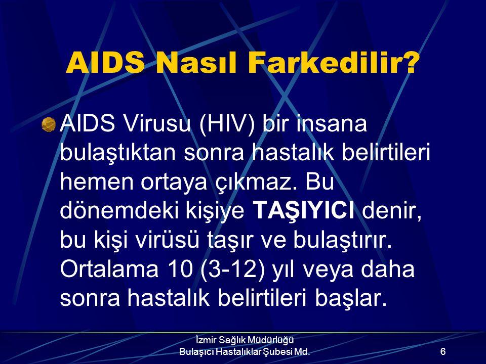 İzmir Sağlık Müdürlüğü Bulaşıcı Hastalıklar Şubesi Md.16 •Cinsel bulaş açısından riskli davranışlar; *birden fazla partneri olmak *eşcinsellik *hayatını fuhuşla kazanmak *rastgele kişilerle cinsel ilişkiye girmek