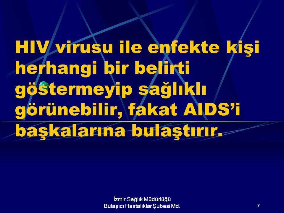 İzmir Sağlık Müdürlüğü Bulaşıcı Hastalıklar Şubesi Md.7 HIV virusu ile enfekte kişi herhangi bir belirti göstermeyip sağlıklı görünebilir, fakat AIDS'i başkalarına bulaştırır.