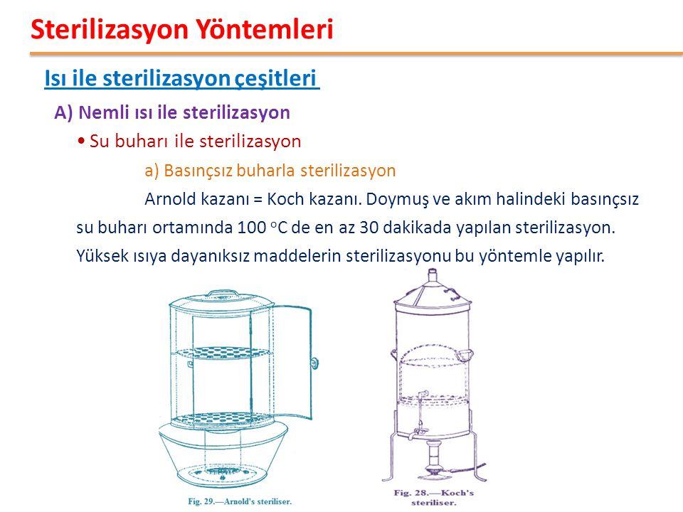 •Su buharı ile sterilizasyon a) Basınçsız buharla sterilizasyon Arnold kazanı = Koch kazanı. Doymuş ve akım halindeki basınçsız su buharı ortamında 10