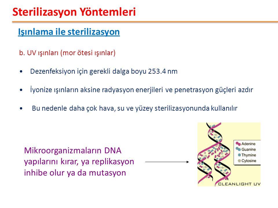 Işınlama ile sterilizasyon Sterilizasyon Yöntemleri b. UV ışınları (mor ötesi ışınlar) •Dezenfeksiyon için gerekli dalga boyu 253.4 nm •İyonize ışınla