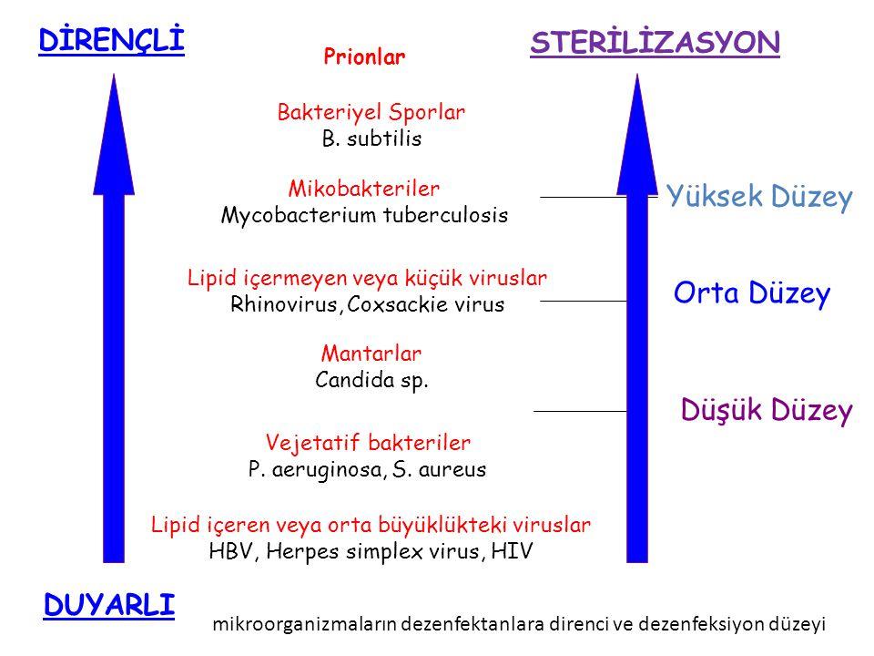Bakteriyel Sporlar B. subtilis Mikobakteriler Mycobacterium tuberculosis Lipid içermeyen veya küçük viruslar Rhinovirus, Coxsackie virus Mantarlar Can