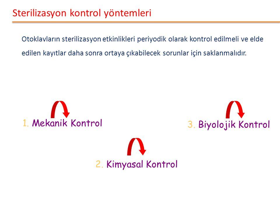 Sterilizasyon kontrol yöntemleri Otoklavların sterilizasyon etkinlikleri periyodik olarak kontrol edilmeli ve elde edilen kayıtlar daha sonra ortaya çıkabilecek sorunlar için saklanmalıdır.