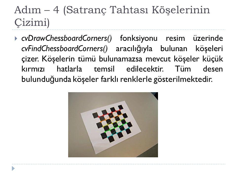 Adım – 4 (Satranç Tahtası Köşelerinin Çizimi)  cvDrawChessboardCorners() fonksiyonu resim üzerinde cvFindChessboardCorners() aracılı ğ ıyla bulunan k
