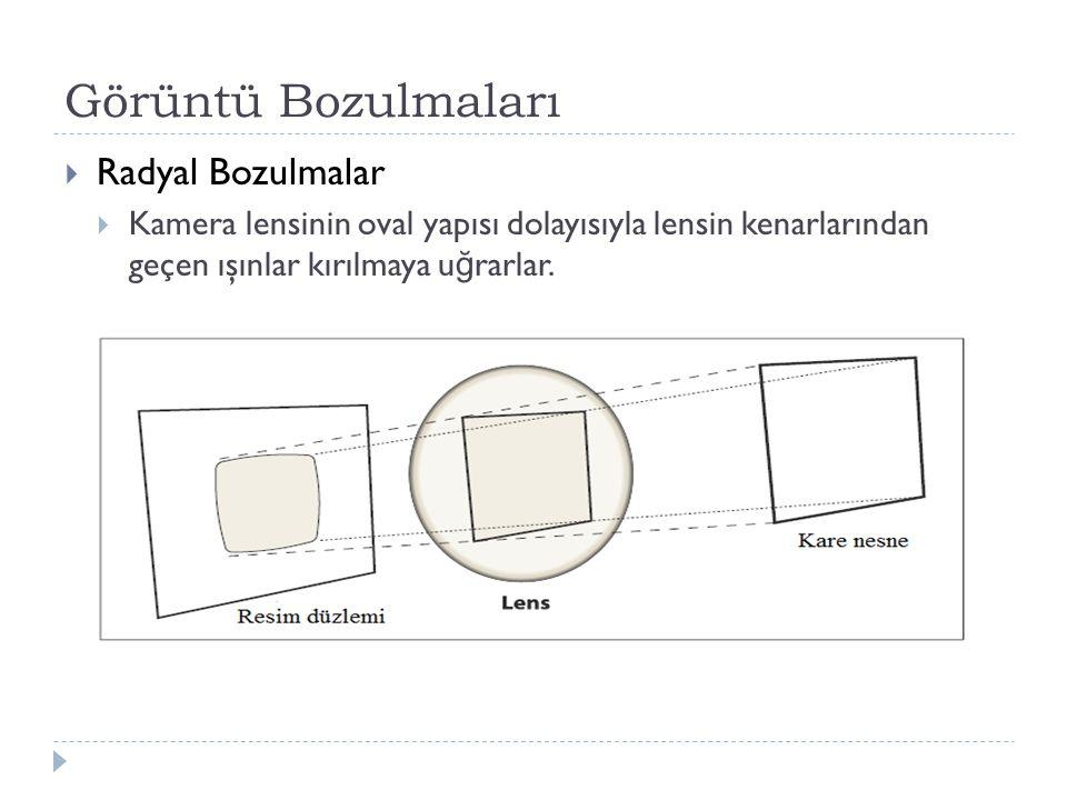 Görüntü Bozulmaları  Radyal Bozulmalar  Kamera lensinin oval yapısı dolayısıyla lensin kenarlarından geçen ışınlar kırılmaya u ğ rarlar.