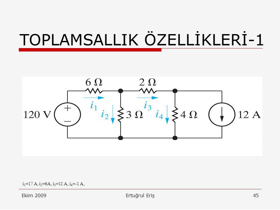 Ekim 2009Ertuğrul Eriş45 TOPLAMSALLIK ÖZELLİKLERİ-1 i 1 =17 A, i 2 =6A, i 3 =11 A, i 4 =-1 A,