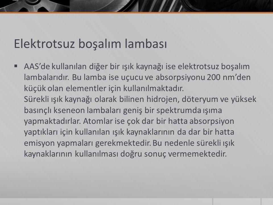Elektrotsuz boşalım lambası  AAS'de kullanılan diğer bir ışık kaynağı ise elektrotsuz boşalım lambalarıdır.