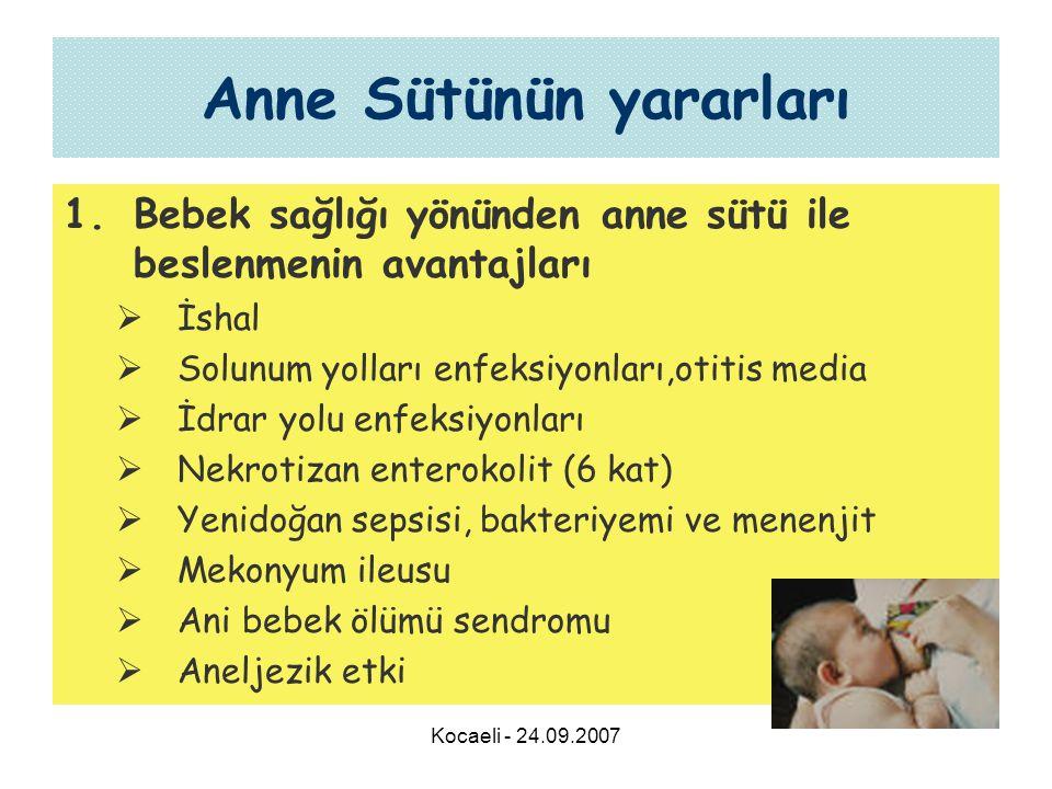 Kocaeli - 24.09.2007 Anne Sütünün yararları 1.Bebek sağlığı yönünden anne sütü ile beslenmenin avantajları  İshal  Solunum yolları enfeksiyonları,otitis media  İdrar yolu enfeksiyonları  Nekrotizan enterokolit (6 kat)  Yenidoğan sepsisi, bakteriyemi ve menenjit  Mekonyum ileusu  Ani bebek ölümü sendromu  Aneljezik etki