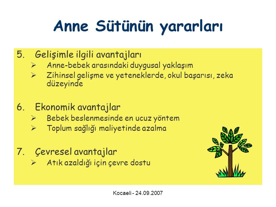 Kocaeli - 24.09.2007 5.Gelişimle ilgili avantajları  Anne-bebek arasındaki duygusal yaklaşım  Zihinsel gelişme ve yeteneklerde, okul başarısı, zeka düzeyinde 6.Ekonomik avantajlar  Bebek beslenmesinde en ucuz yöntem  Toplum sağlığı maliyetinde azalma 7.Çevresel avantajlar  Atık azaldığı için çevre dostu Anne Sütünün yararları