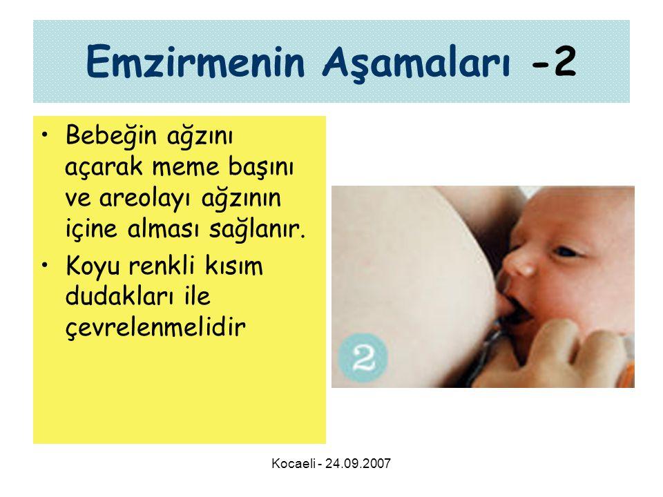 Kocaeli - 24.09.2007 Emzirmenin Aşamaları -2 •Bebeğin ağzını açarak meme başını ve areolayı ağzının içine alması sağlanır. •Koyu renkli kısım dudaklar