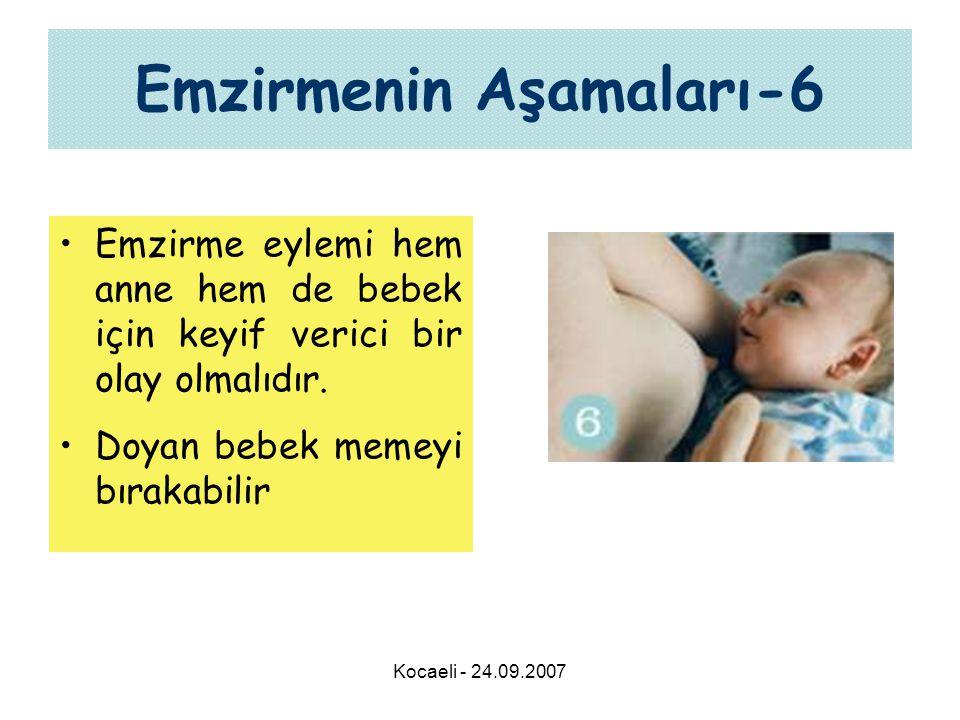 Kocaeli - 24.09.2007 Emzirmenin Aşamaları-6 •Emzirme eylemi hem anne hem de bebek için keyif verici bir olay olmalıdır. •Doyan bebek memeyi bırakabili
