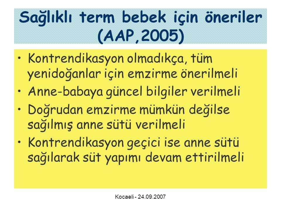 Kocaeli - 24.09.2007 Sağlıklı term bebek için öneriler (AAP,2005) •Kontrendikasyon olmadıkça, tüm yenidoğanlar için emzirme önerilmeli •Anne-babaya gü