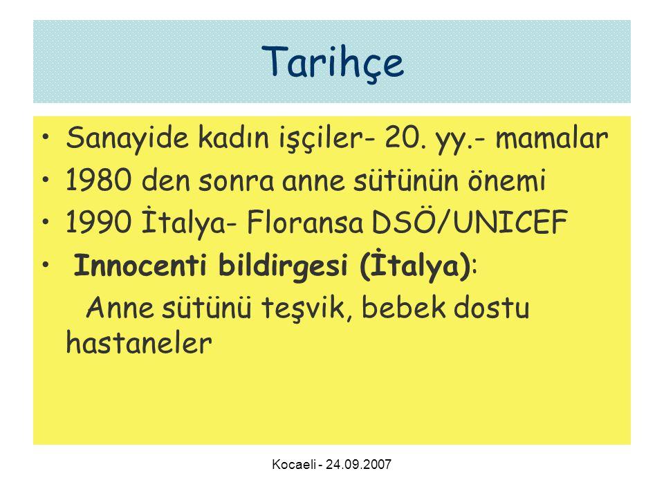 Kocaeli - 24.09.2007 Tarihçe •Sanayide kadın işçiler- 20. yy.- mamalar •1980 den sonra anne sütünün önemi •1990 İtalya- Floransa DSÖ/UNICEF • Innocent