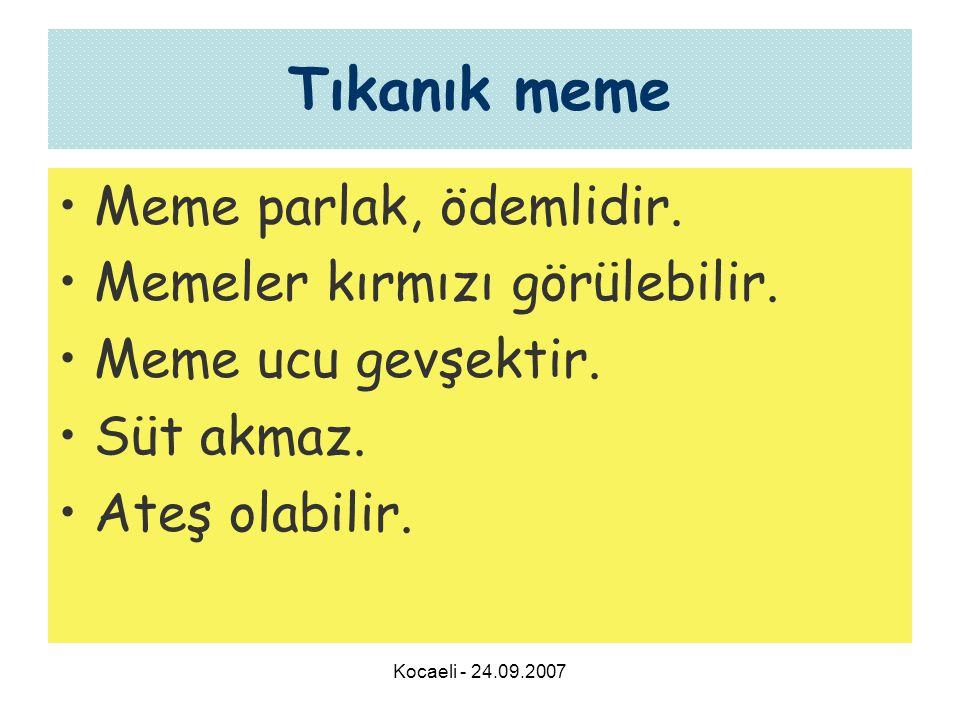 Kocaeli - 24.09.2007 Tıkanık meme •Meme parlak, ödemlidir.