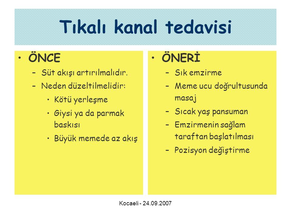 Kocaeli - 24.09.2007 Tıkalı kanal tedavisi •ÖNCE –Süt akışı artırılmalıdır.